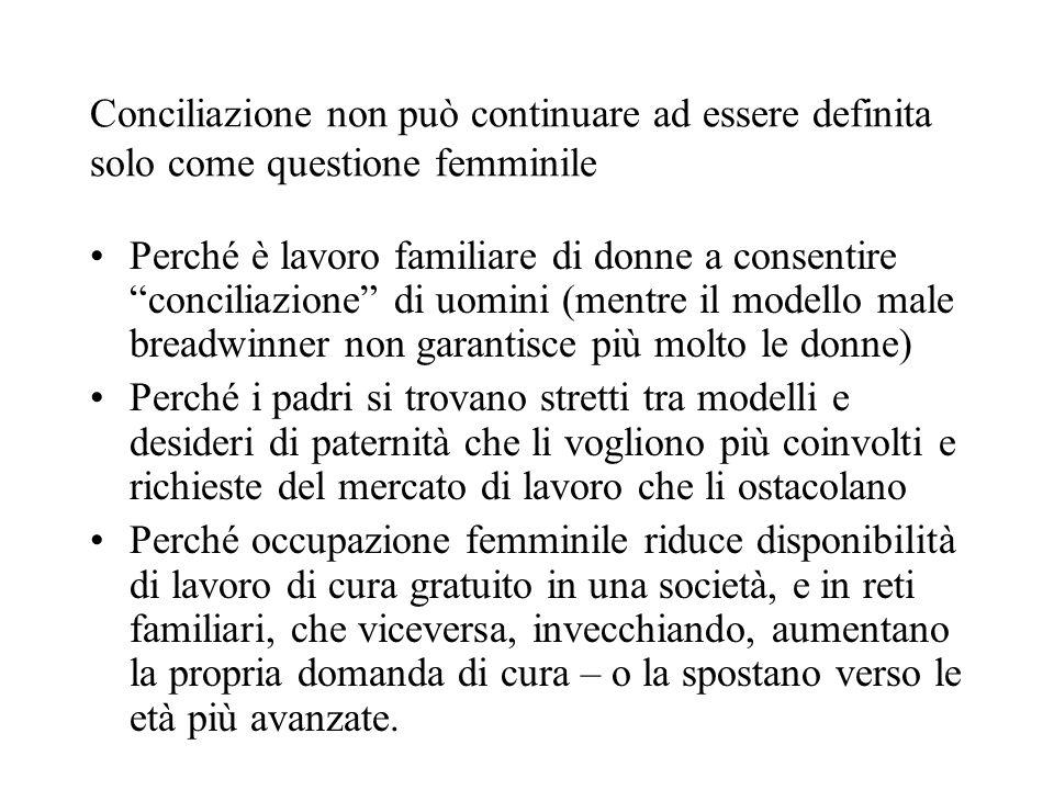 Conciliazione non può continuare ad essere definita solo come questione femminile Perché è lavoro familiare di donne a consentire conciliazione di uom