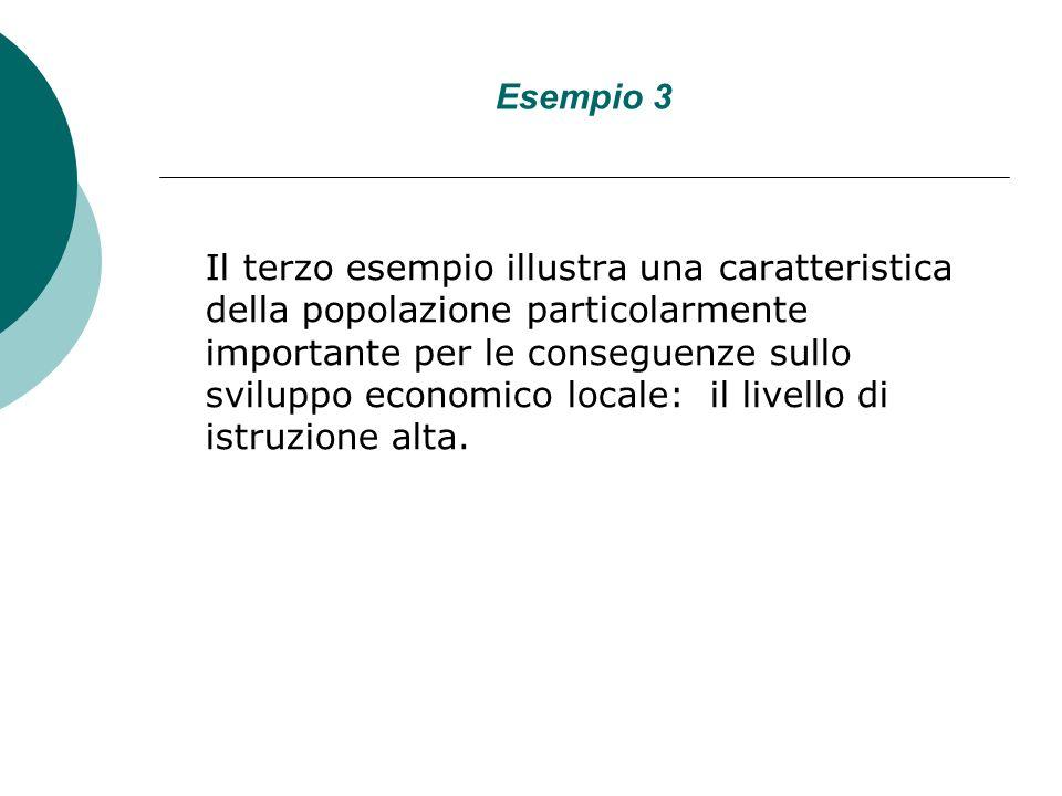 Esempio 3 Il terzo esempio illustra una caratteristica della popolazione particolarmente importante per le conseguenze sullo sviluppo economico locale: il livello di istruzione alta.