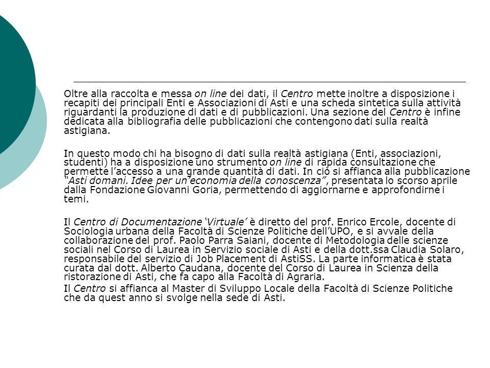 Oltre alla raccolta e messa on line dei dati, il Centro mette inoltre a disposizione i recapiti dei principali Enti e Associazioni di Asti e una scheda sintetica sulla attività riguardanti la produzione di dati e di pubblicazioni.