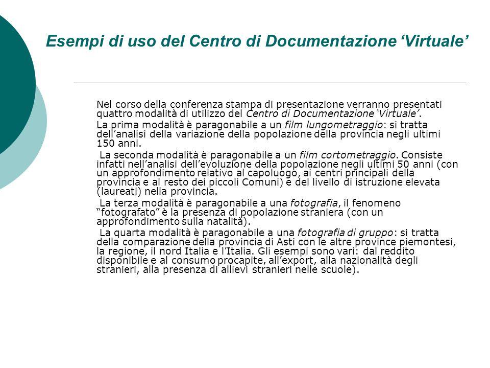 Esempi di uso del Centro di Documentazione Virtuale Nel corso della conferenza stampa di presentazione verranno presentati quattro modalità di utilizzo del Centro di Documentazione Virtuale.