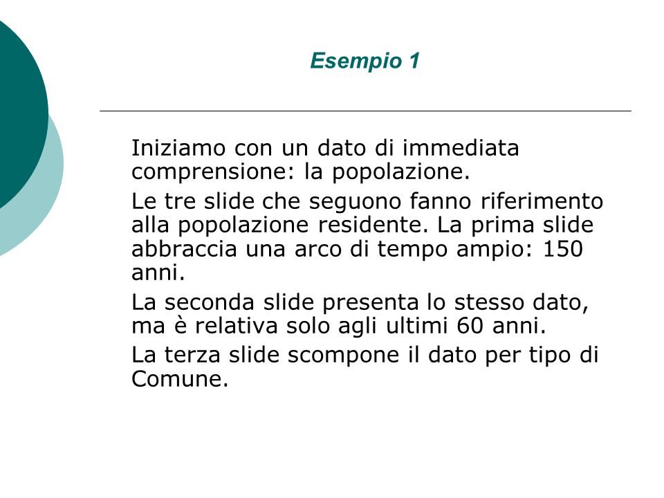 Esempio 1 Iniziamo con un dato di immediata comprensione: la popolazione.
