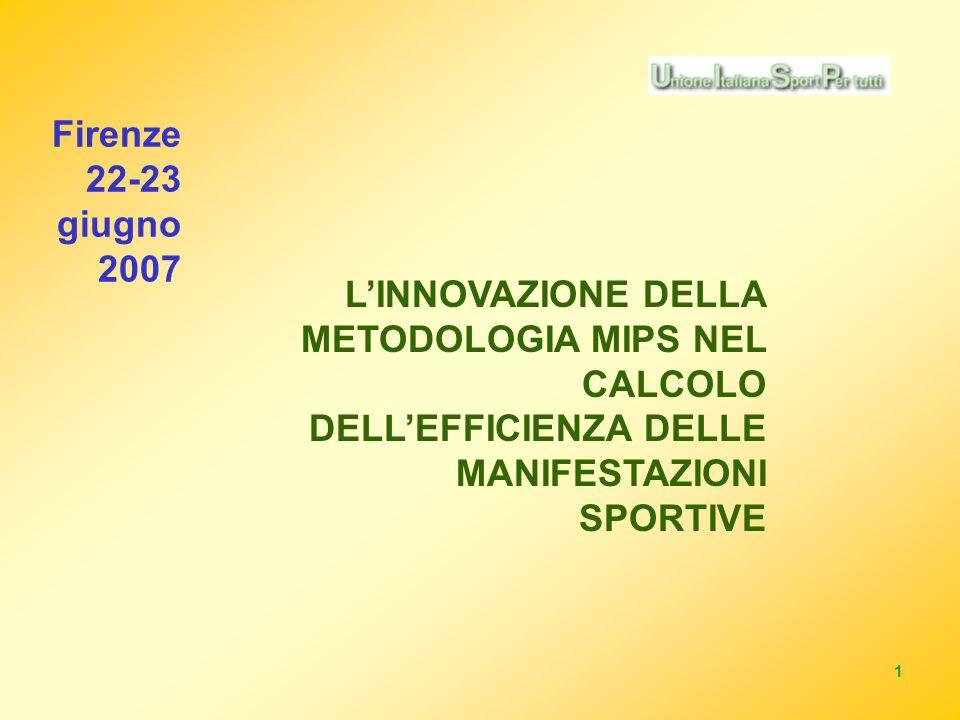 1 LINNOVAZIONE DELLA METODOLOGIA MIPS NEL CALCOLO DELLEFFICIENZA DELLE MANIFESTAZIONI SPORTIVE Firenze 22-23 giugno 2007