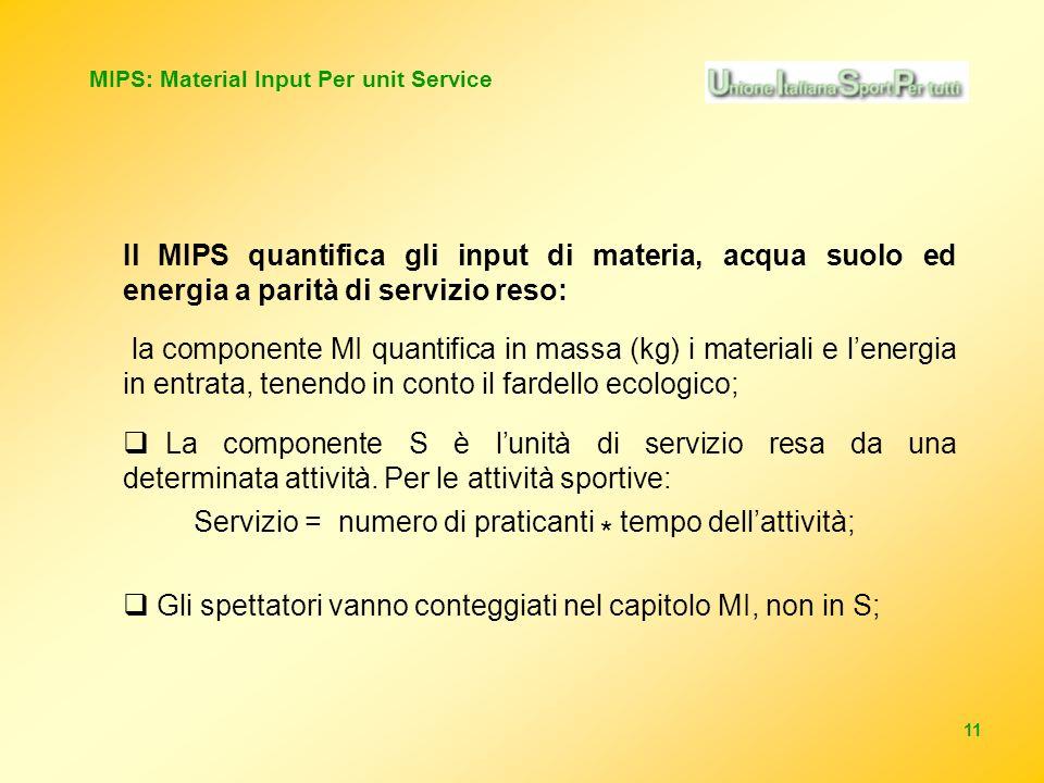 11 MIPS: Material Input Per unit Service Il MIPS quantifica gli input di materia, acqua suolo ed energia a parità di servizio reso: la componente MI quantifica in massa (kg) i materiali e lenergia in entrata, tenendo in conto il fardello ecologico; La componente S è lunità di servizio resa da una determinata attività.