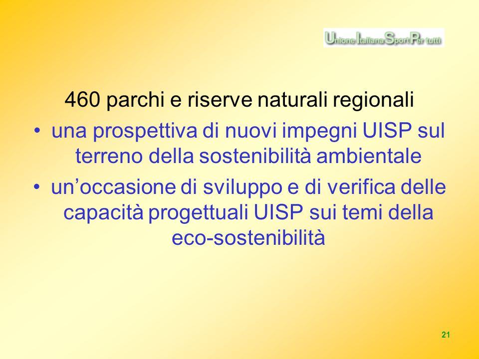 21 460 parchi e riserve naturali regionali una prospettiva di nuovi impegni UISP sul terreno della sostenibilità ambientale unoccasione di sviluppo e di verifica delle capacità progettuali UISP sui temi della eco-sostenibilità