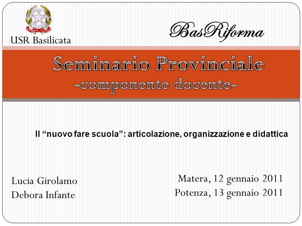 USR Basilicata BasRiforma Matera, 12 gennaio 2011 Potenza, 13 gennaio 2011 Lucia Girolamo Debora Infante Il nuovo fare scuola: articolazione, organizz