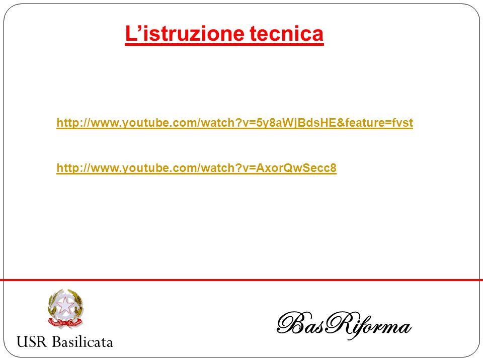 USR Basilicata BasRiforma http://www.youtube.com/watch?v=5y8aWjBdsHE&feature=fvst http://www.youtube.com/watch?v=AxorQwSecc8 Listruzione tecnica