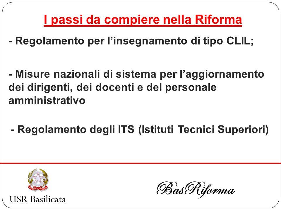 USR Basilicata BasRiforma I passi da compiere nella Riforma - Regolamento per linsegnamento di tipo CLIL; - Misure nazionali di sistema per laggiornam