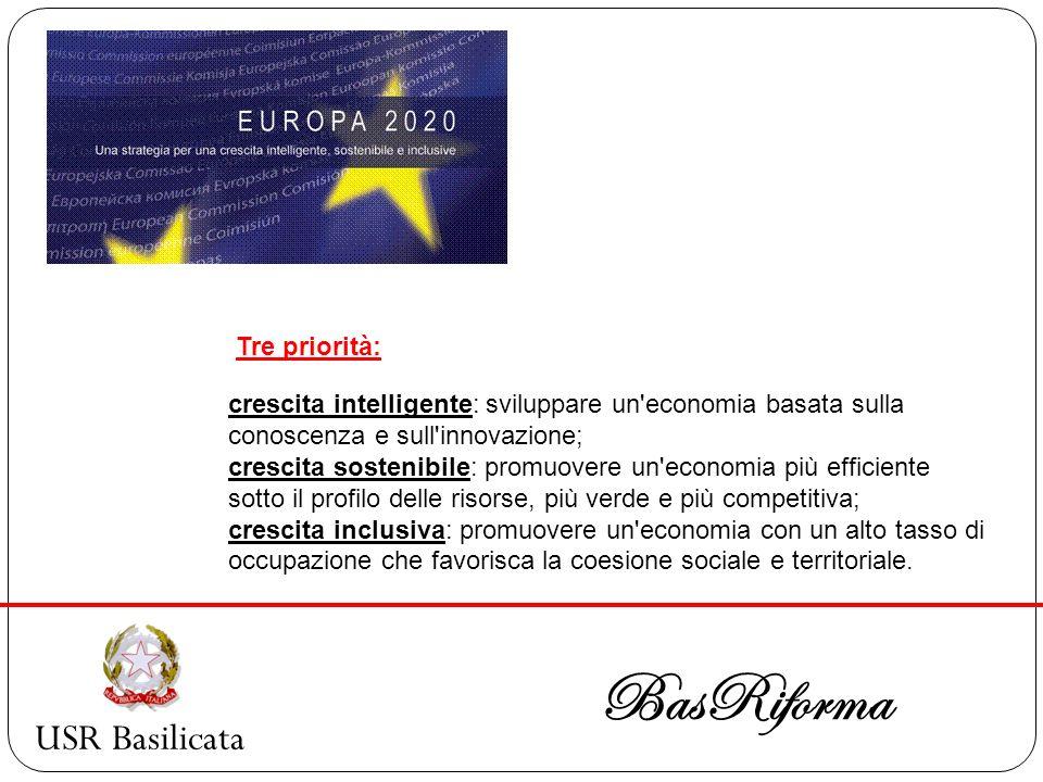 USR Basilicata BasRiforma crescita intelligente: sviluppare un'economia basata sulla conoscenza e sull'innovazione; crescita sostenibile: promuovere u