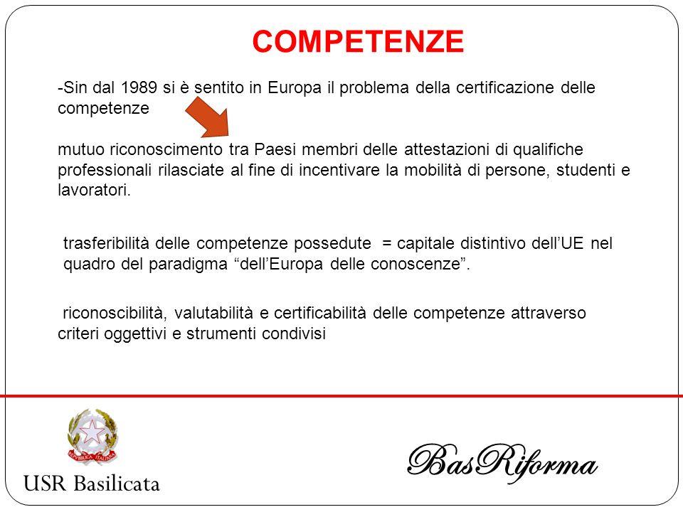 USR Basilicata BasRiforma -Sin dal 1989 si è sentito in Europa il problema della certificazione delle competenze mutuo riconoscimento tra Paesi membri