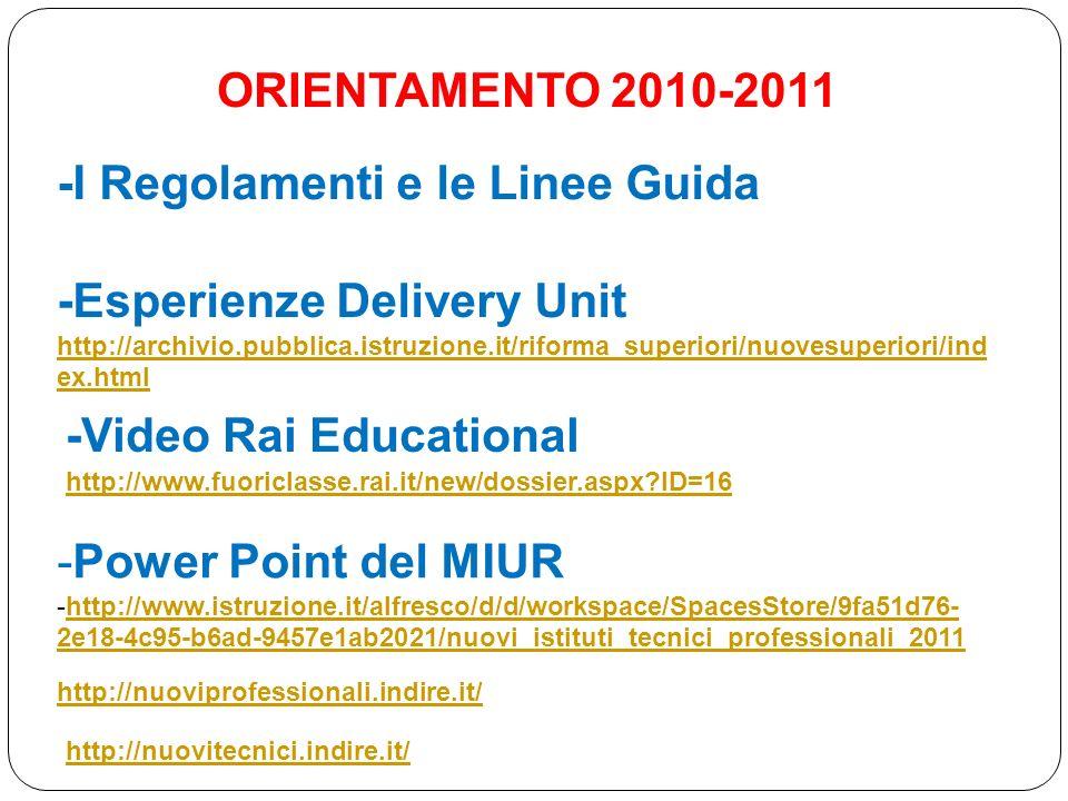 ORIENTAMENTO 2010-2011 -Esperienze Delivery Unit http://archivio.pubblica.istruzione.it/riforma_superiori/nuovesuperiori/ind ex.html -Video Rai Educat