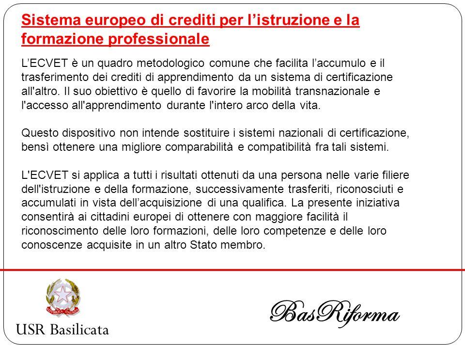 USR Basilicata BasRiforma Sistema europeo di crediti per listruzione e la formazione professionale LECVET è un quadro metodologico comune che facilita