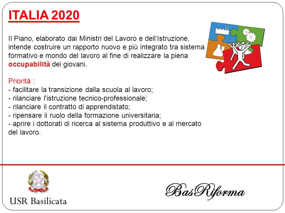 USR Basilicata BasRiforma ITALIA 2020 Il Piano, elaborato dai Ministri del Lavoro e dellIstruzione, intende costruire un rapporto nuovo e più integrat