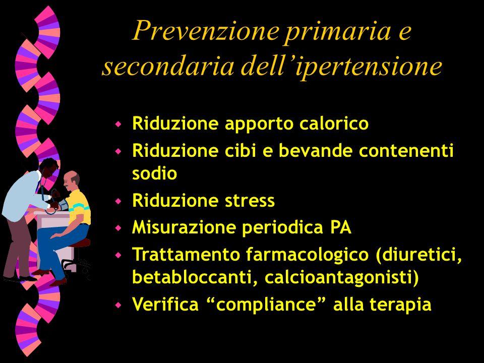Prevenzione primaria e secondaria dellipertensione w Riduzione apporto calorico w Riduzione cibi e bevande contenenti sodio w Riduzione stress w Misur