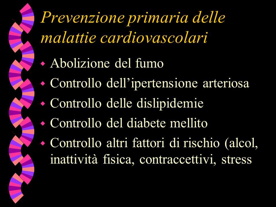 Prevenzione primaria delle malattie cardiovascolari w Abolizione del fumo w Controllo dellipertensione arteriosa w Controllo delle dislipidemie w Cont