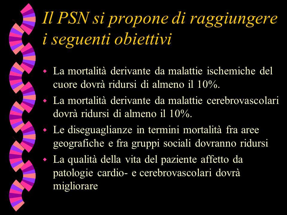 Il PSN si propone di raggiungere i seguenti obiettivi w La mortalità derivante da malattie ischemiche del cuore dovrà ridursi di almeno il 10%. w La m