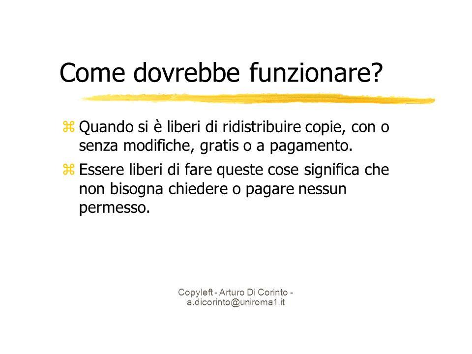 Copyleft - Arturo Di Corinto - a.dicorinto@uniroma1.it Come dovrebbe funzionare.