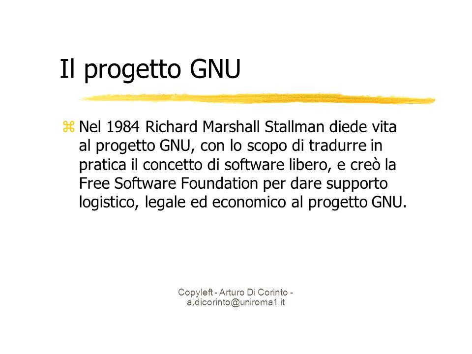 Copyleft - Arturo Di Corinto - a.dicorinto@uniroma1.it Il progetto GNU Nel 1984 Richard Marshall Stallman diede vita al progetto GNU, con lo scopo di tradurre in pratica il concetto di software libero, e creò la Free Software Foundation per dare supporto logistico, legale ed economico al progetto GNU.