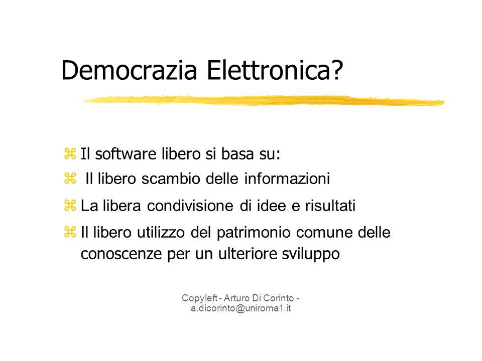 Copyleft - Arturo Di Corinto - a.dicorinto@uniroma1.it Democrazia Elettronica.