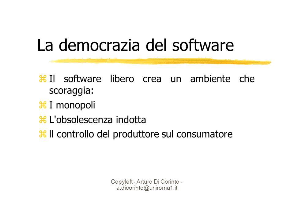 Copyleft - Arturo Di Corinto - a.dicorinto@uniroma1.it La democrazia del software Il software libero crea un ambiente che scoraggia: I monopoli L obsolescenza indotta ll controllo del produttore sul consumatore