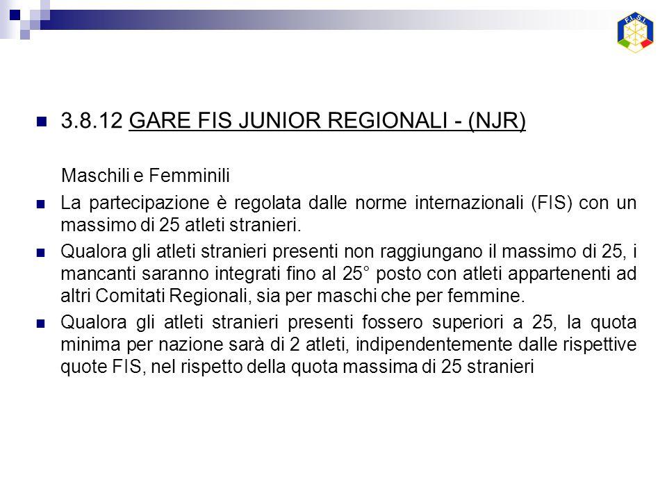 3.8.12 GARE FIS JUNIOR REGIONALI - (NJR) Maschili e Femminili La partecipazione è regolata dalle norme internazionali (FIS) con un massimo di 25 atleti stranieri.