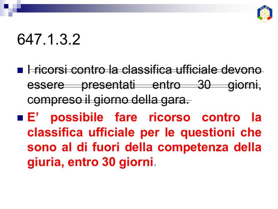 647.1.3.2 I ricorsi contro la classifica ufficiale devono essere presentati entro 30 giorni, compreso il giorno della gara.