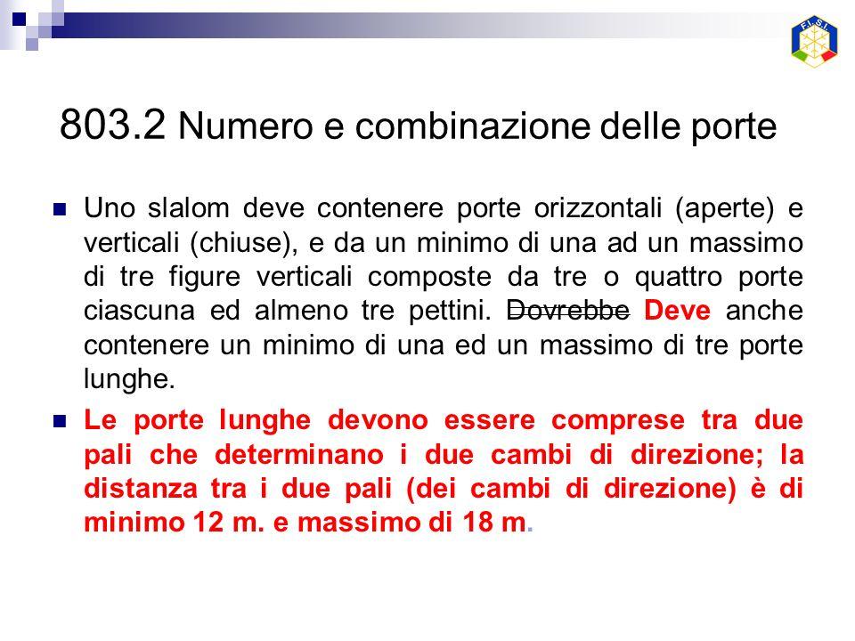 803.2 Numero e combinazione delle porte Uno slalom deve contenere porte orizzontali (aperte) e verticali (chiuse), e da un minimo di una ad un massimo di tre figure verticali composte da tre o quattro porte ciascuna ed almeno tre pettini.