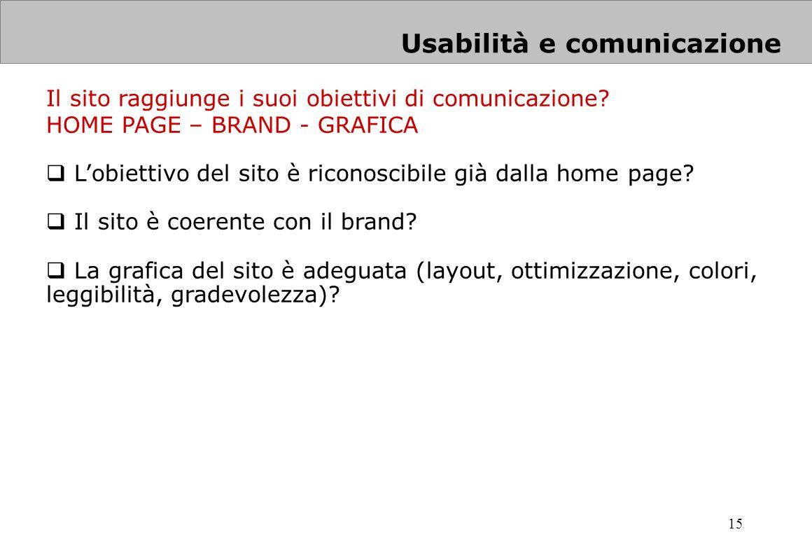 15 Il sito raggiunge i suoi obiettivi di comunicazione? HOME PAGE – BRAND - GRAFICA Lobiettivo del sito è riconoscibile già dalla home page? Il sito è