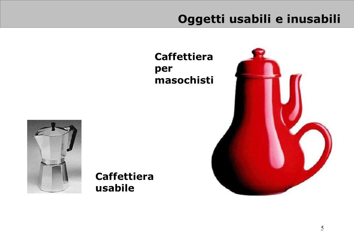 5 Oggetti usabili e inusabili Caffettiera usabile Caffettiera per masochisti