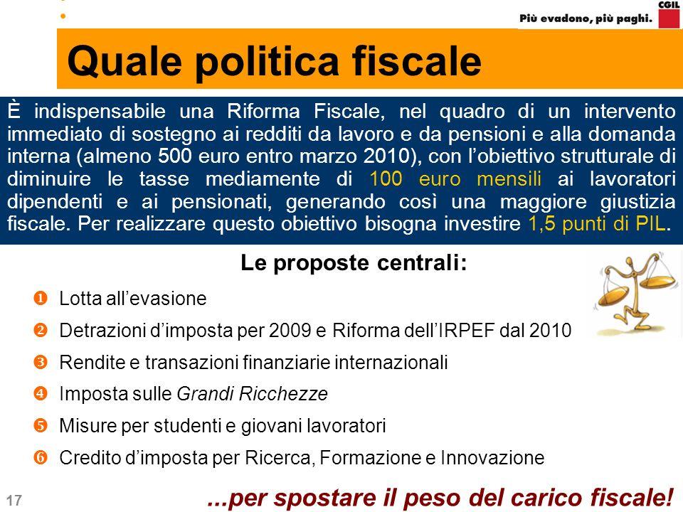 17 Quale politica fiscale Le proposte centrali: Lotta allevasione Detrazioni dimposta per 2009 e Riforma dellIRPEF dal 2010 Rendite e transazioni fina