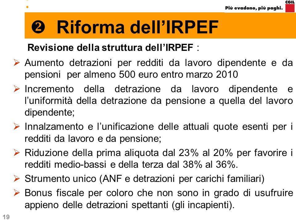 19 Riforma dellIRPEF Revisione della struttura dellIRPEF : Aumento detrazioni per redditi da lavoro dipendente e da pensioni per almeno 500 euro entro