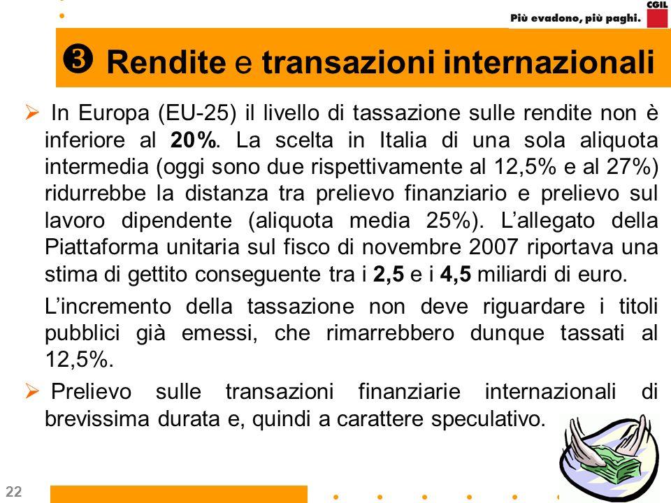 22 Rendite e transazioni internazionali In Europa (EU-25) il livello di tassazione sulle rendite non è inferiore al 20%. La scelta in Italia di una so