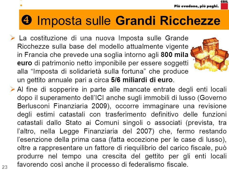 23 Imposta sulle Grandi Ricchezze La costituzione di una nuova Imposta sulle Grande Ricchezze sulla base del modello attualmente vigente in Francia ch
