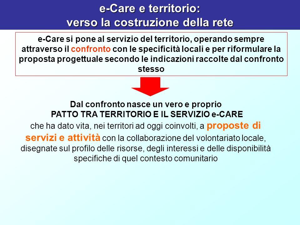 e-Care e territorio: verso la costruzione della rete e-Care si pone al servizio del territorio, operando sempre attraverso il confronto con le specifi