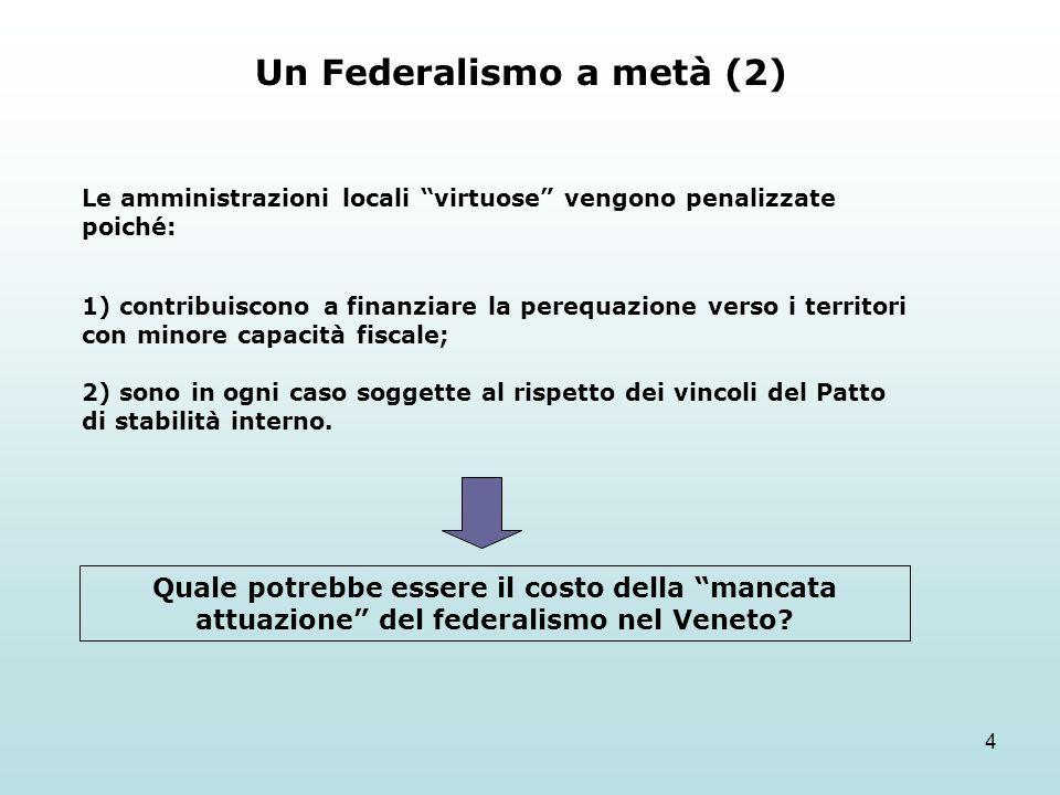 4 Un Federalismo a metà (2) Le amministrazioni locali virtuose vengono penalizzate poiché: 1) contribuiscono a finanziare la perequazione verso i territori con minore capacità fiscale; 2) sono in ogni caso soggette al rispetto dei vincoli del Patto di stabilità interno.