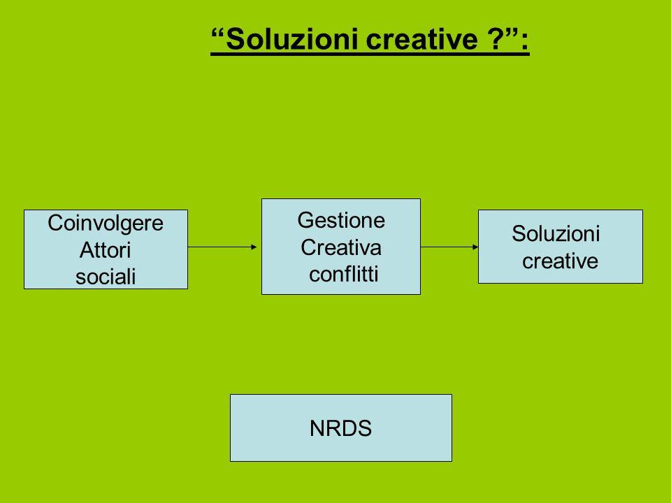 Soluzioni creative ?: Coinvolgere Attori sociali Soluzioni creative Gestione Creativa conflitti NRDS
