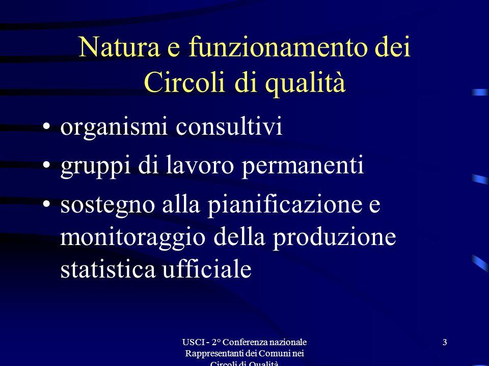 USCI - 2° Conferenza nazionale Rappresentanti dei Comuni nei Circoli di Qualità 14 Referenti permanenti per lUSCI conti econom.