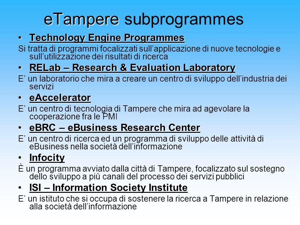 eTampere eTampere subprogrammes Technology Engine ProgrammesTechnology Engine Programmes Si tratta di programmi focalizzati sullapplicazione di nuove