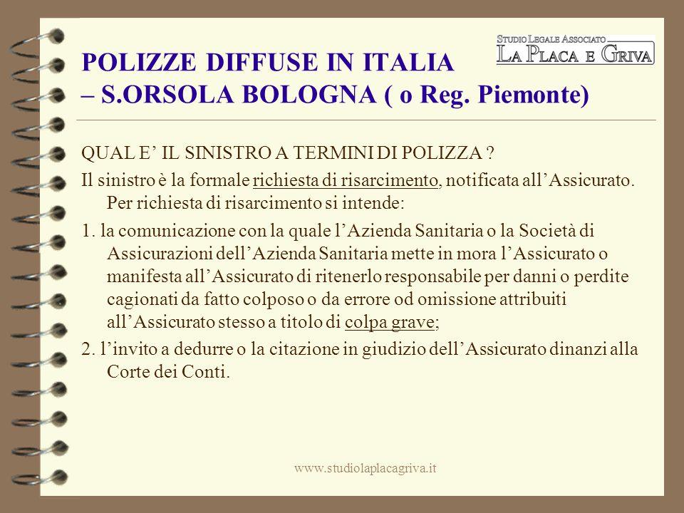 POLIZZE DIFFUSE IN ITALIA – S.ORSOLA BOLOGNA ( o Reg.