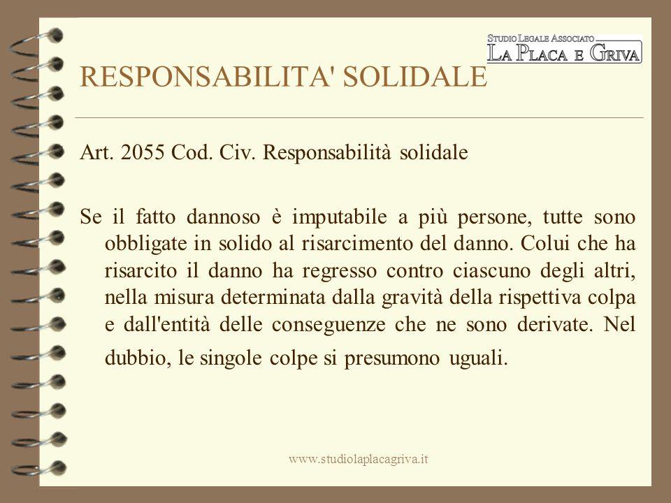 RESPONSABILITA SOLIDALE Art. 2055 Cod. Civ.