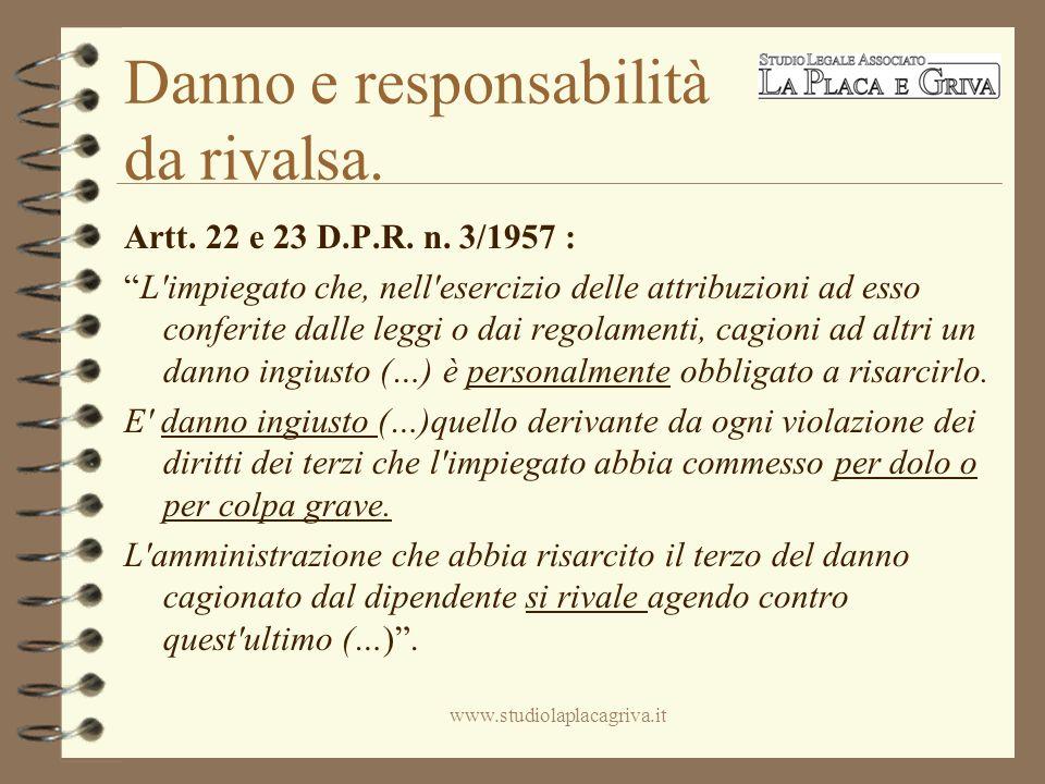 Danno e responsabilità da rivalsa. Artt. 22 e 23 D.P.R.