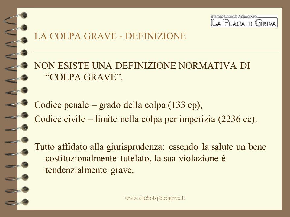 LA COLPA GRAVE - DEFINIZIONE NON ESISTE UNA DEFINIZIONE NORMATIVA DI COLPA GRAVE.