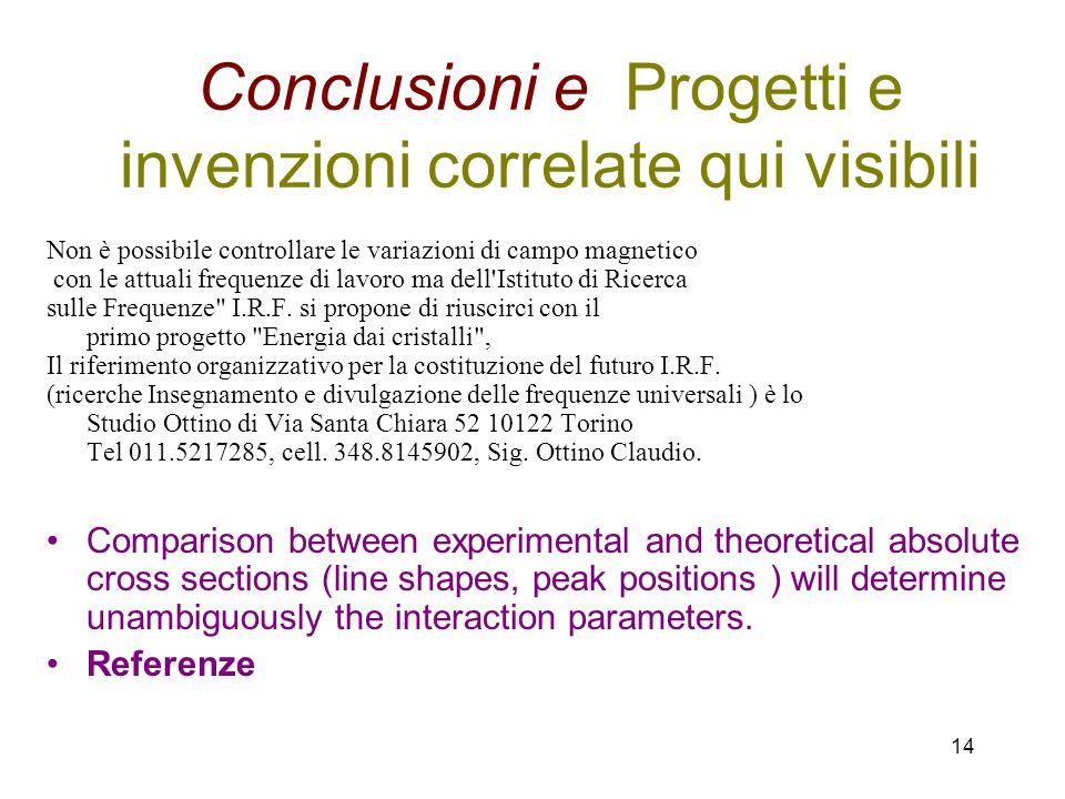 14 Conclusioni e Progetti e invenzioni correlate qui visibili Non è possibile controllare le variazioni di campo magnetico con le attuali frequenze di