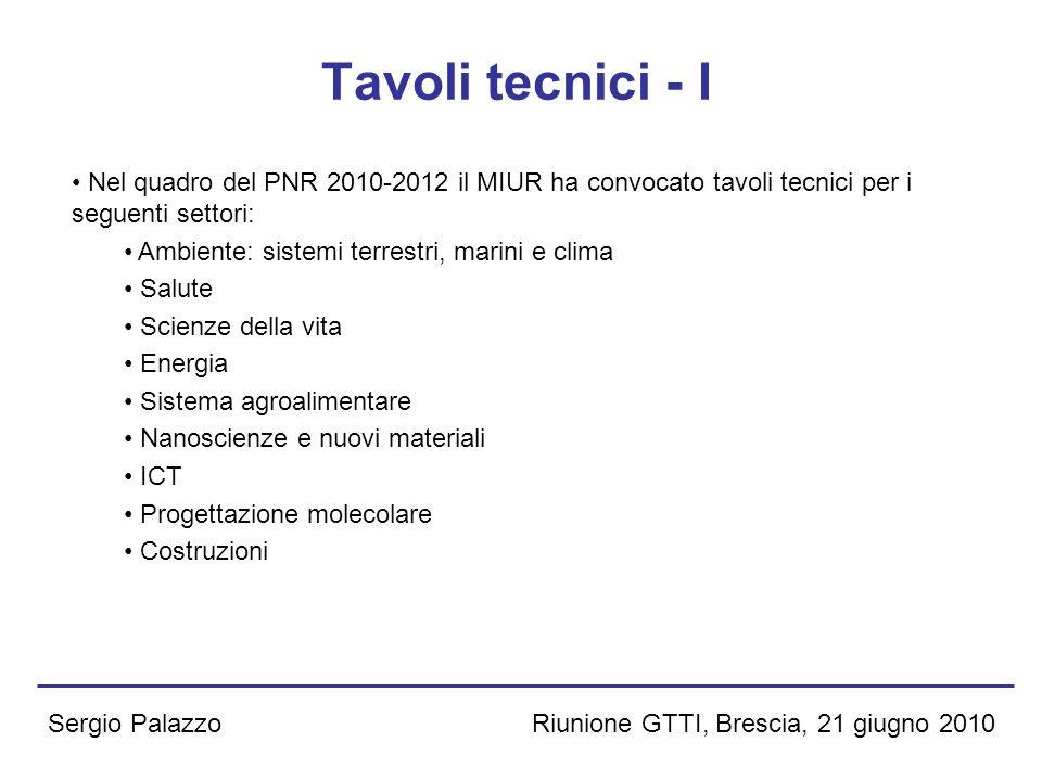 Riunione GTTI, Brescia, 21 giugno 2010Sergio Palazzo Tavoli tecnici - I Nel quadro del PNR 2010-2012 il MIUR ha convocato tavoli tecnici per i seguent