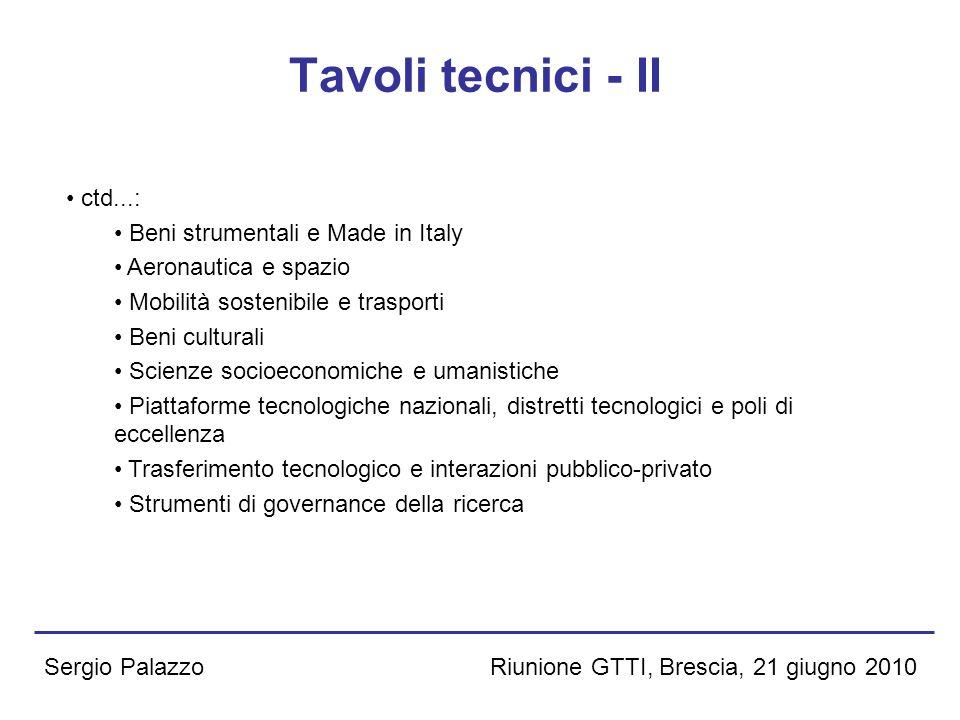 Riunione GTTI, Brescia, 21 giugno 2010Sergio Palazzo Tavoli tecnici - II ctd...: Beni strumentali e Made in Italy Aeronautica e spazio Mobilità sosten