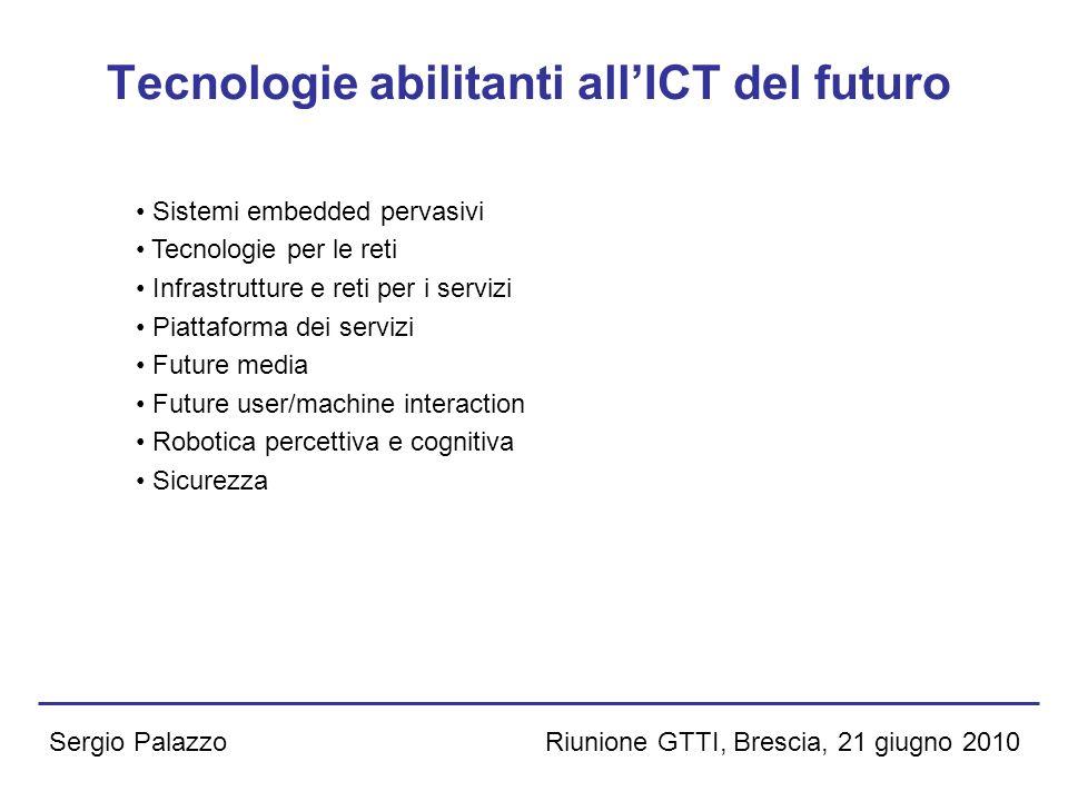 Riunione GTTI, Brescia, 21 giugno 2010Sergio Palazzo Domini applicativi abilitati dallICT del futuro iGovernment Sanità e salute ICT del futuro a sostegno della cultura e della creatività eEnergy eMobility, smart cities eEnvironment, informazione geo-spaziale ICT per il ciclo di vita del prodotto Bioinformatica