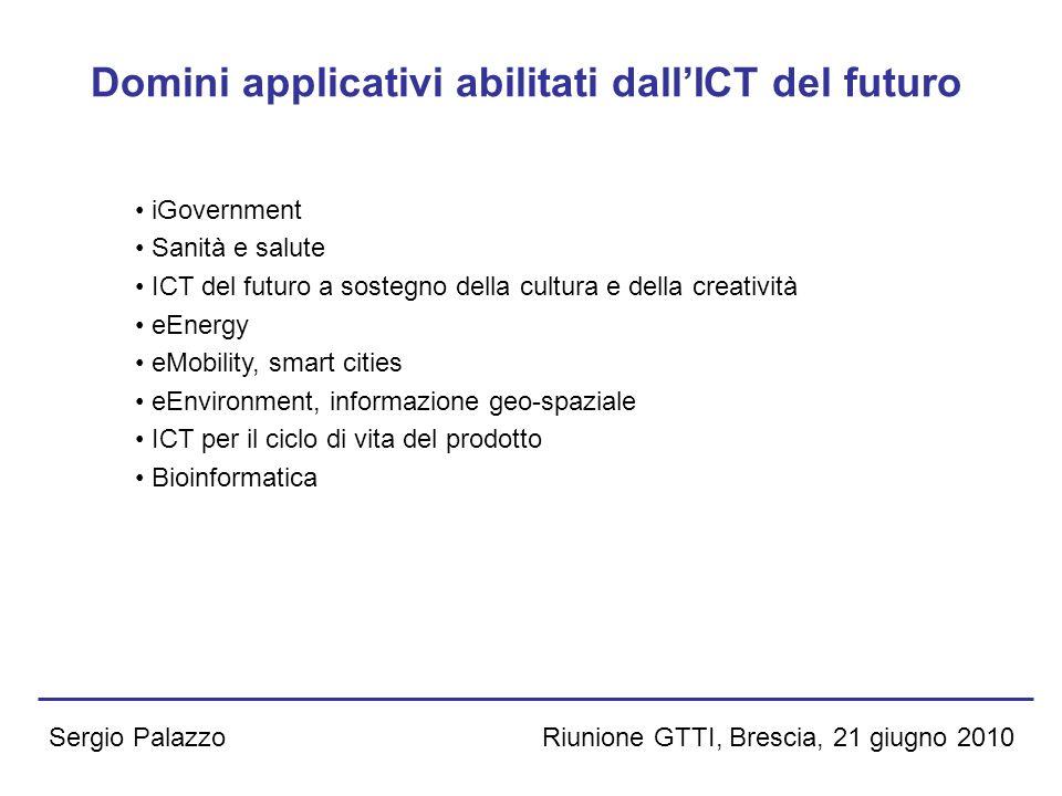 Riunione GTTI, Brescia, 21 giugno 2010Sergio Palazzo Domini applicativi abilitati dallICT del futuro iGovernment Sanità e salute ICT del futuro a sost