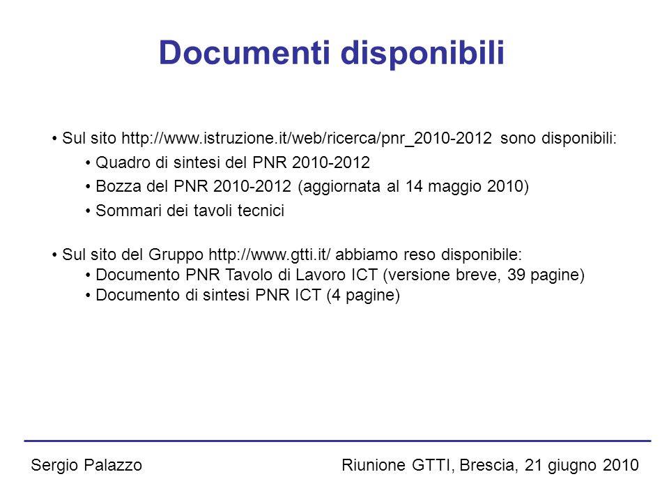 Riunione GTTI, Brescia, 21 giugno 2010Sergio Palazzo Documenti disponibili Sul sito http://www.istruzione.it/web/ricerca/pnr_2010-2012 sono disponibil