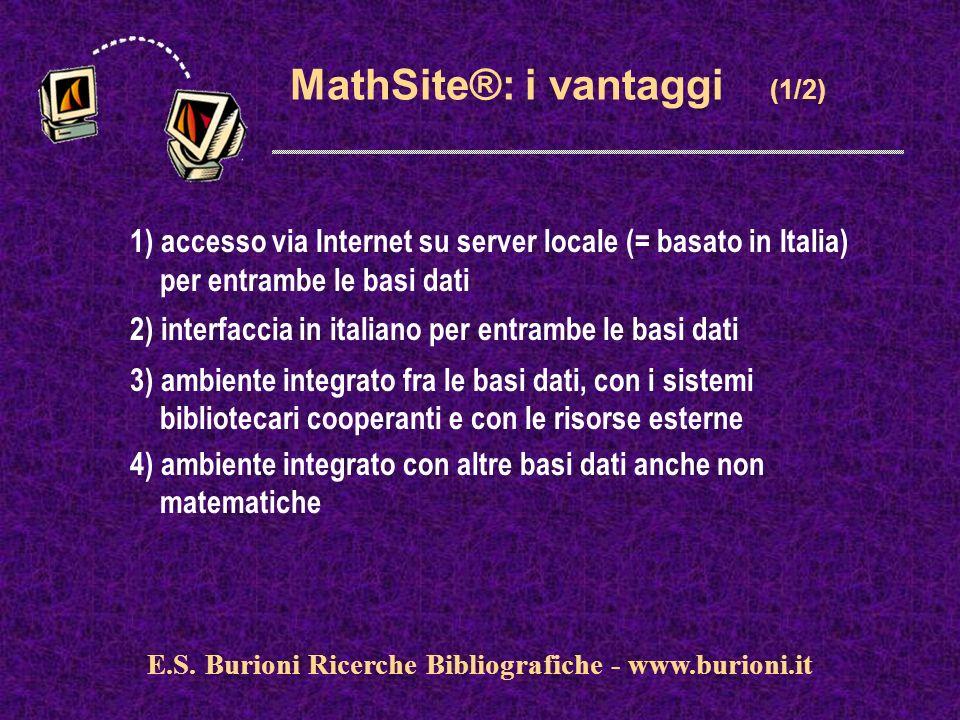 www.silverplatter.com MathSite®: i vantaggi (1/2) 1) accesso via Internet su server locale (= basato in Italia) per entrambe le basi dati 2) interfaccia in italiano per entrambe le basi dati 3) ambiente integrato fra le basi dati, con i sistemi bibliotecari cooperanti e con le risorse esterne 4) ambiente integrato con altre basi dati anche non matematiche E.S.