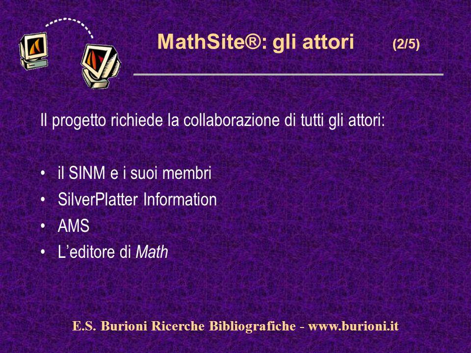 www.silverplatter.com MathSite®: gli attori (2/5) Il progetto richiede la collaborazione di tutti gli attori: il SINM e i suoi membri SilverPlatter Information AMS Leditore di Math E.S.