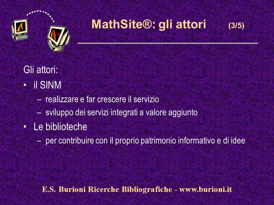 www.silverplatter.com MathSite®: gli attori (3/5) Gli attori: il SINM –realizzare e far crescere il servizio –sviluppo dei servizi integrati a valore aggiunto Le biblioteche –per contribuire con il proprio patrimonio informativo e di idee E.S.